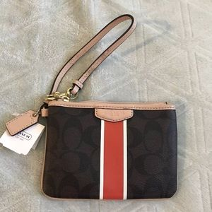 Coach Wristlet Red Orange Stripe NWT
